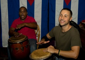 Johnny Frias (right) at the conga