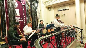 Joseph Alpar (back row, second from right) as vocalist and percussionist in Sephardic music concert at Istanbul's historic Ashkenazi Synagogue, June 2015. Concert sponsored by American Research Institute in Turkey and the Istanbul Jewish community; Prof. Ruhi Ayangil on kanun, Korkutalp Bilgin on cello and guitar, and Osman Öksüzoğlu on ney.