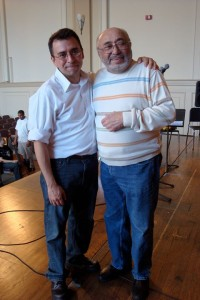 David Garcia (left) with salsa star Eddie Palmier